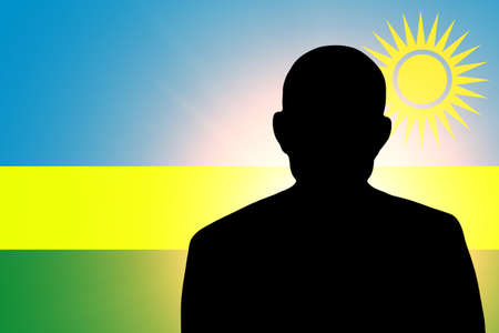 unnamed: The Rwanda flag and the silhouette of an unknown man