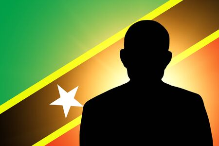 pretender: The Saint Kitts and Nevis flag and the silhouette of an unknown man