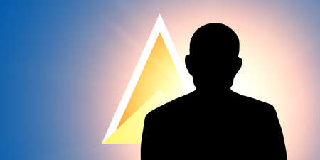 unnamed: The Saint Lucia flag and the silhouette of an unknown man Stock Photo