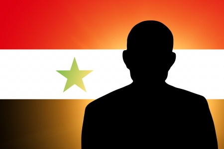 unnamed: The Syria flag and the silhouette of an unknown man Stock Photo