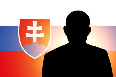 The Slovakia flag and the silhouette of an unknown man photo
