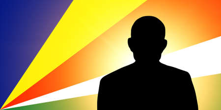 unnamed: The Seychelles flag and the silhouette of an unknown man Stock Photo