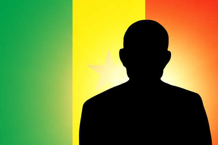 unnamed: The Senegal flag and the silhouette of an unknown man