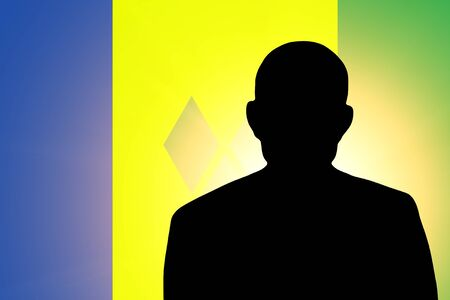 unnamed: The Saint Vincent and the Grenadines flag and the silhouette of an unknown man