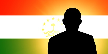 The Tajik flag and the silhouette of an unknown man Stock Photo - 15943334