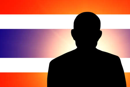 unnamed: The Thai flag and the silhouette of an unknown man
