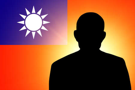 unnamed: The Taiwan flag and the silhouette of an unknown man
