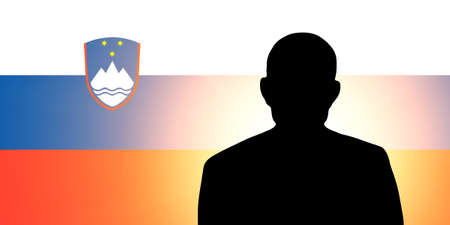 The Slovenia flag and the silhouette of an unknown man Stock Photo - 15943342