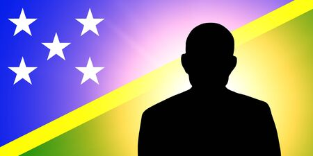 unnamed: The Solomon Islands flag and the silhouette of an unknown man Stock Photo
