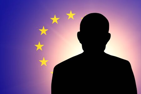 unnamed: The European Union Flag and the silhouette of an unknown man and the silhouette of an unknown man