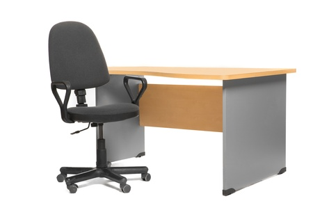 Office desk and chair. Isoalted on white. photo