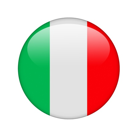 The Italian flag in the form of a glossy icon. Stock Photo