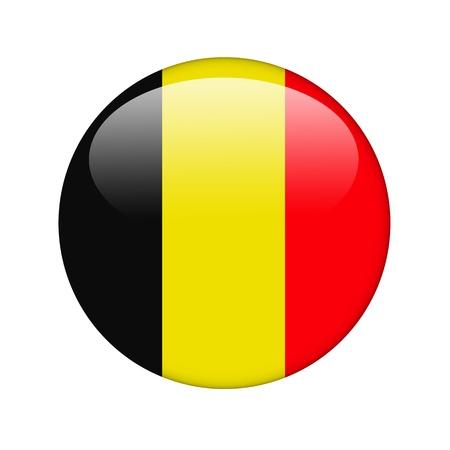 belgie: De Belgische vlag in de vorm van een glanzend pictogram. Stockfoto