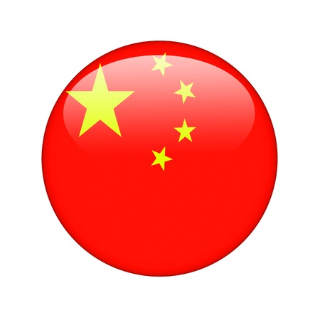 The Chinese flag in the form of a glossy icon. Stock Photo - 15943552