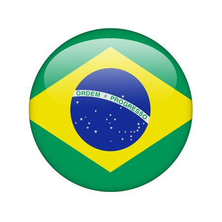 The Brazilian flag in the form of a glossy icon. photo