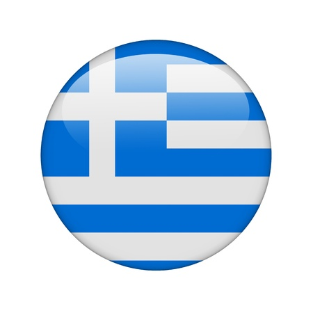 The Greek flag in the form of a glossy icon. photo