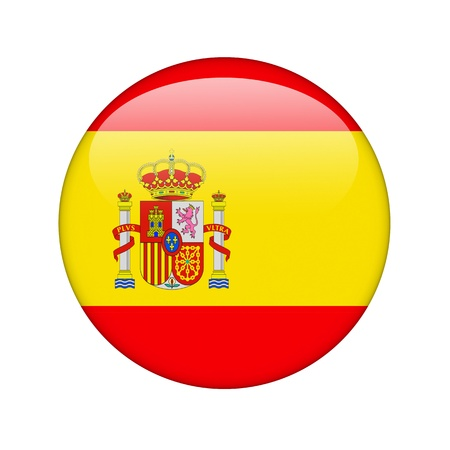 round icons: The Spanish flag in the form of a glossy icon. Stock Photo
