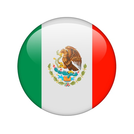 flag of mexico: The Mexican flag in the form of a glossy icon. Stock Photo