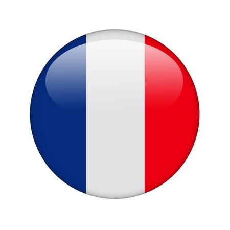 bandera francia: La bandera francesa en la forma de un icono brillante. Foto de archivo