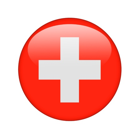 freedom icon: The Swiss flag in the form of a glossy icon. Stock Photo