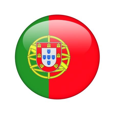 drapeau portugal: Le drapeau portugais sous la forme d'une ic�ne de papier glac�. Banque d'images