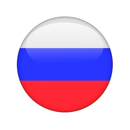 The Russian flag in the form of a glossy icon. Stock Photo