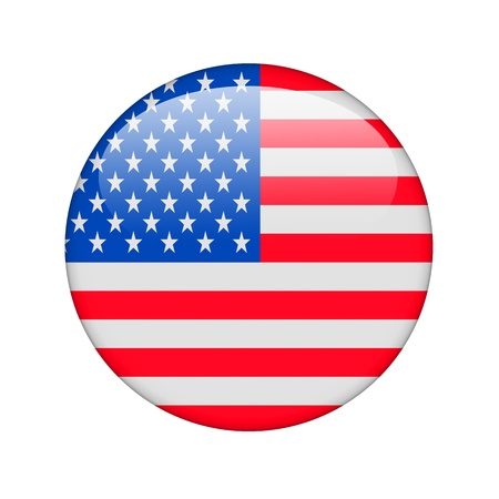 The USA flag in the form of a glossy icon. photo