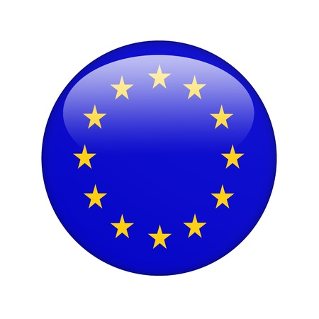eu flag: The European Union Flag in the form of a glossy icon. Stock Photo