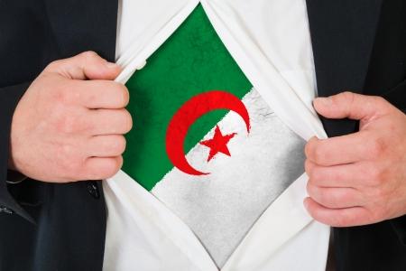 algerian flag: The Algerian flag painted on the chest of a man Stock Photo
