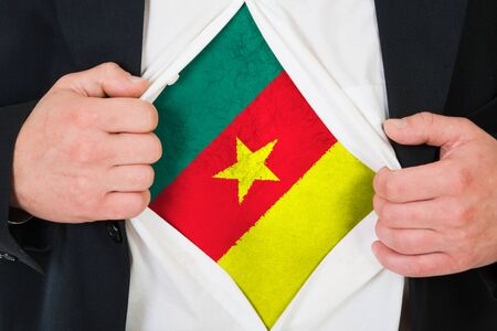 cameroonian: The Cameroonian flag painted on the chest of a man