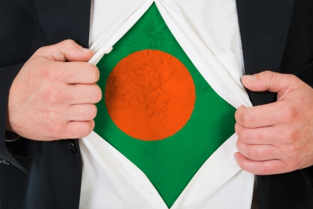 The Bangladesh flag painted on the chest of a man photo
