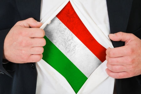 national hero: The Hungarian flag painted on the chest of a man Stock Photo