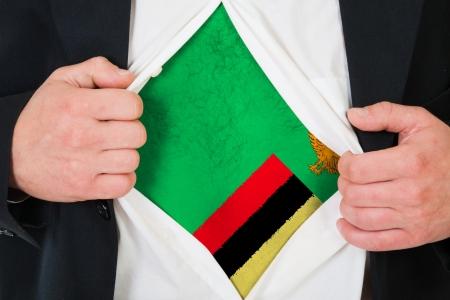 zambian: The Zambian flag painted on the chest of a man