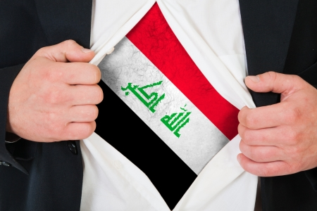 iraqi: The Iraqi flag painted on the chest of a man Stock Photo