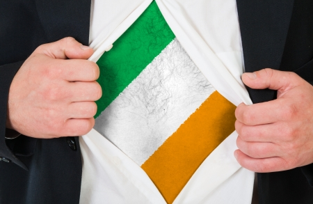 The irish flag painted on the chest of a man photo