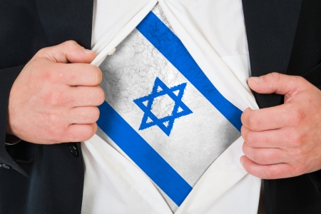 The Israeli flag painted on the chest of a man Stock Photo - 15943742
