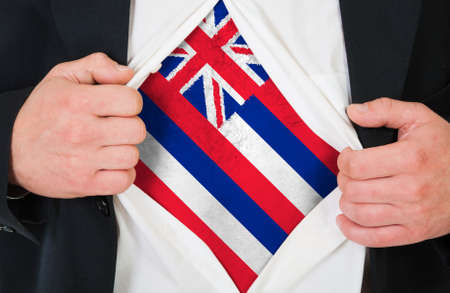 hawaii flag: The Hawaii flag painted on the chest of a man