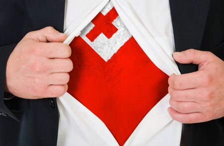 The Tonga flag painted on the chest of a man