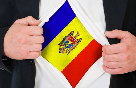 moldovan: The Moldovan flag painted on the chest of a man
