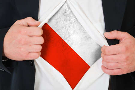 The Polish flag painted on the chest of a man photo