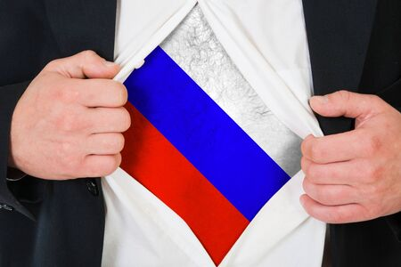 acknowledgment: The Russian flag painted on the chest of a man Stock Photo