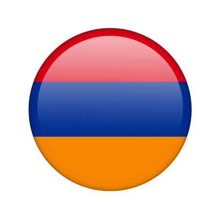 armenian: The Armenian flag in the form of a glossy icon. Stock Photo