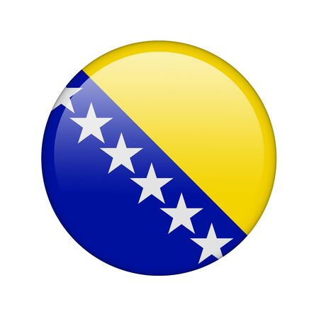 The Bosnia and Herzegovina flag in the form of a glossy icon. photo