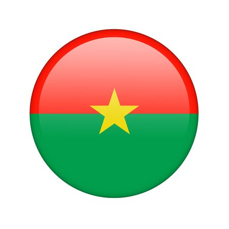 The Burkina Faso flag in the form of a glossy icon. photo