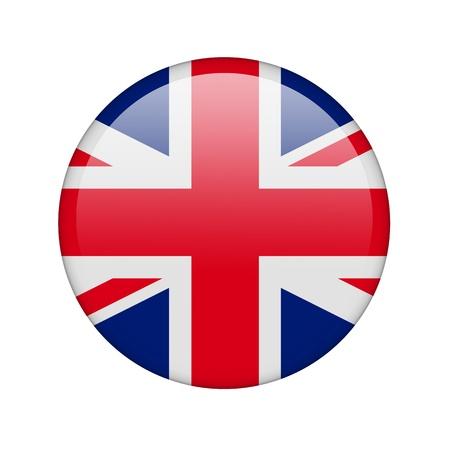 bandera inglesa: La bandera brit�nica en la forma de un icono brillante. Foto de archivo