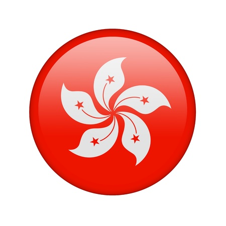 hong kong: The Hong Kong flag in the form of a glossy icon. Stock Photo