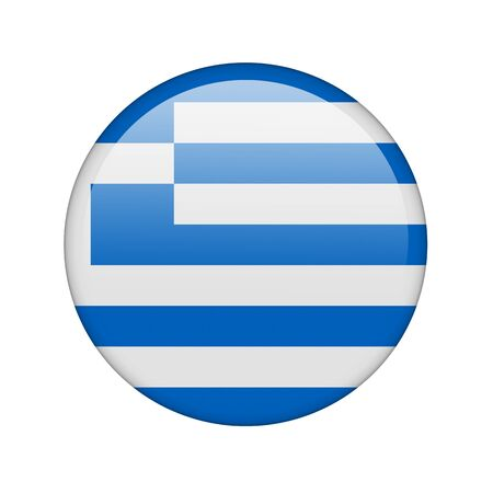 The Greek flag in the form of a glossy icon. Stock Photo - 16760683
