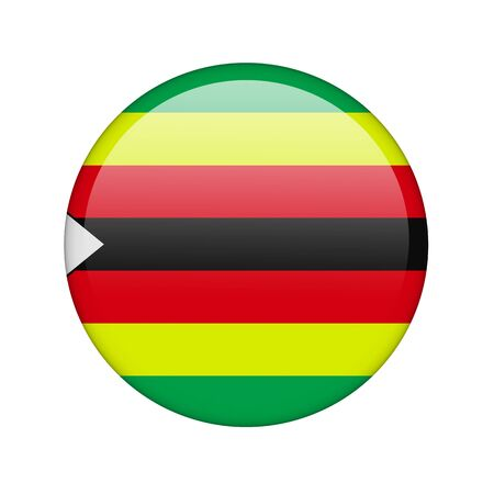 The Zimbabwe flag in the form of a glossy icon. photo