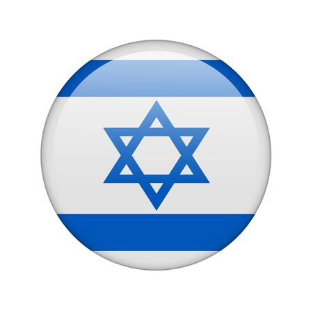 The Israeli flag in the form of a glossy icon. photo