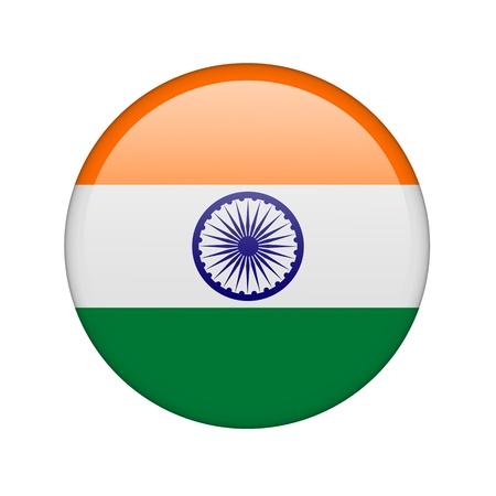 bandera de la india: La bandera de la India en forma de un icono de brillo. Foto de archivo